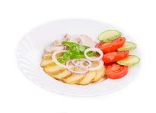 温暖的肉沙拉 免版税库存图片