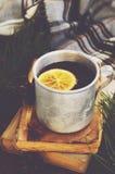 温暖的茶用在金属杯子、书和被检查的格子花呢披肩的柠檬 免版税库存照片