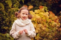 温暖的被编织的使用与在晚秋天步行的叶子的毛线衣和帽子的逗人喜爱的愉快的孩子女孩 库存图片