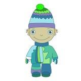 温暖的顶面衣裳和帽子的小男孩 免版税库存图片