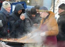 温暖的食物在冬天 库存图片