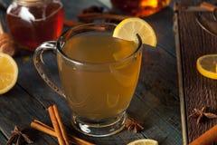 温暖的香甜热酒用柠檬 免版税图库摄影