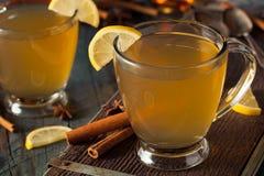 温暖的香甜热酒用柠檬 库存图片