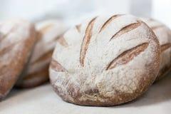 温暖的鲜美新近地被烘烤的面包大面包在面包店商店或市场上 免版税图库摄影