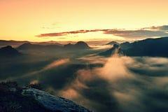 温暖红色五颜六色的蒸气的有薄雾的秋天土地 充分岩石谷大雾 太阳在五颜六色的薄雾掩藏 库存照片