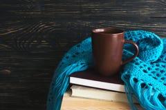 温暖被编织的格子花呢披肩、茶和书 免版税图库摄影