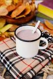 温暖被编织的围巾和一本书在一个木盘子 平安的秋天Fr 图库摄影
