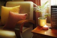 温暖装饰的客厅 免版税图库摄影