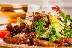 温暖食物滋补沙拉鲜美的小牛肉 免版税图库摄影