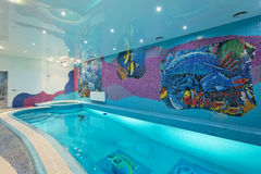 温泉与马赛克鱼的游泳池设计在墙壁上 免版税库存图片