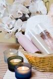 温泉化妆用品构成 免版税库存照片