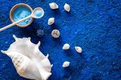 温泉化妆用品设置了与浴的海在蓝色背景顶视图大模型的盐和壳 免版税库存图片