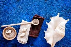 温泉化妆用品设置了与浴的海在蓝色背景顶视图大模型的盐和壳 库存图片