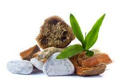 温泉和健康设置与竹子,木零件,自然loof 免版税库存照片