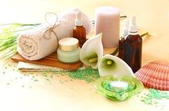 温泉和健康设置与自然肥皂、蜡烛和毛巾。自然木背景。绿色集合。 库存图片