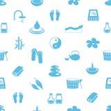 温泉和放松简单的蓝色和白色无缝的样式eps10 图库摄影
