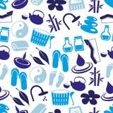 温泉和放松简单的蓝色无缝的样式eps10 库存照片