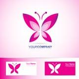 温泉和秀丽的蝴蝶商标 免版税库存照片