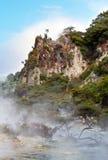 温泉和蒸汽山 免版税库存照片