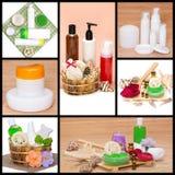 温泉和身体关心化妆用品和辅助部件拼贴画 免版税库存照片