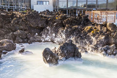 温泉在冰岛的蓝色盐水湖 免版税库存照片