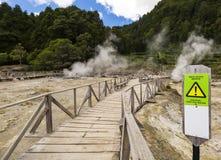 温泉城和喷气孔在lagoa das Furnas,圣地米格尔,亚速尔群岛边缘  库存照片