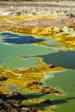 温泉城在Dallol, Danakil沙漠,埃塞俄比亚 免版税库存图片