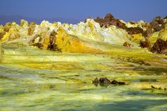 温泉城在Dallol, Danakil沙漠,埃塞俄比亚 库存图片