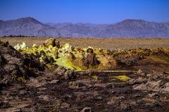 温泉城在Dallol, Danakil沙漠,埃塞俄比亚 图库摄影