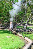 从温泉城的下水道和小河用管道输送到温泉室在清迈,泰国 免版税库存图片