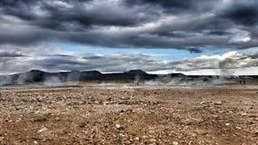 温泉城Myvatn,克拉夫拉火山,冰岛 免版税库存照片