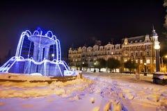 温泉建筑学的例子在冬天- Marianske Lazne Marienbad -捷克 库存图片