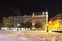 温泉建筑学的例子在冬天- Marianske Lazne Marienbad -捷克 免版税库存图片