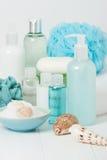 温泉成套工具 香波、肥皂酒吧和液体 阵雨胶凝体 芳香疗法 免版税库存照片