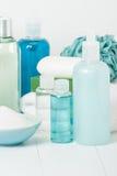 温泉成套工具 香波、肥皂酒吧和液体 阵雨胶凝体 芳香疗法 库存图片