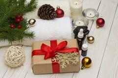 温泉概念,健康在木植物,圣诞节背景反对 当前假日 免版税库存图片
