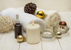 温泉概念,健康在木植物,圣诞节背景反对 当前假日 免版税库存照片