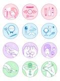 温泉沙龙传染媒介符号集 库存照片