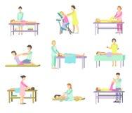 温泉沙龙的人们在治疗按摩做法  向量例证