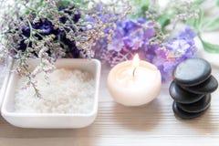 温泉治疗和产品女性脚和修指甲钉子温泉与淡紫色花和岩石石头,拷贝空间,精选的焦点,Th 免版税库存图片