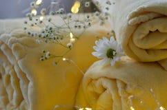 温泉治疗概念:毛巾、花和光 免版税库存照片