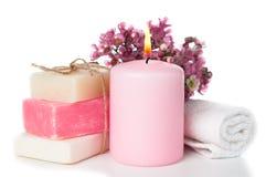 温泉的产品在桃红色 图库摄影