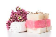 温泉的产品在桃红色 免版税库存照片