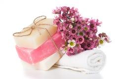 温泉的产品在桃红色 库存照片