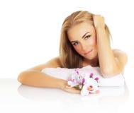 温泉的可爱的女性 库存照片