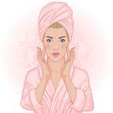 温泉美丽的妇女 免版税库存图片