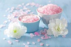 温泉芳香疗法设置了与杜娟花花和草本盐 库存照片