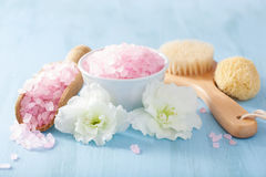 温泉芳香疗法设置了与杜娟花花和草本盐 免版税库存照片