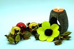 温泉蜡烛和花 库存图片