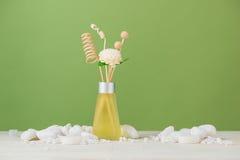 温泉装饰 与芳香疗法的温泉构成在绿色 免版税库存图片